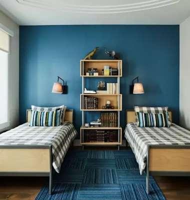 kombinasi warna biru interior design