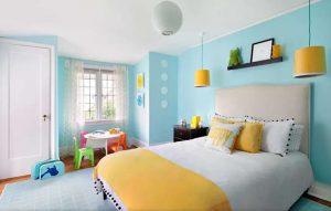 kombinasi warna biru kuning interior design